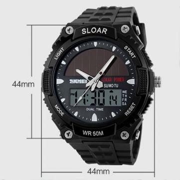 SKMEI 1049 Solar Power Dual Time Waterproof LED Analog Digital Watch at Banggood