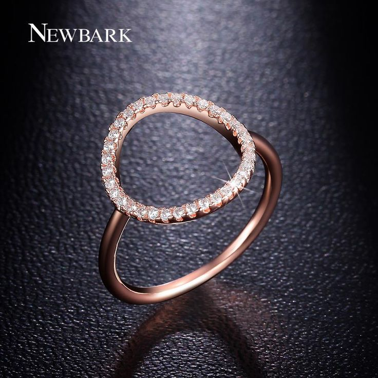NEWBARK Sparkling Hoop Ring Pave Cubic Zirconia Rose And White Gold Plated Fashion Round Circle Simple Rings Jewelry Gilr Gifts
