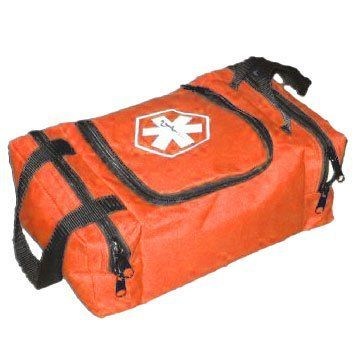 "DixiGear Empty First Responder II Bag - Orange by Dixigear. $9.95. color: Orange. 10.5"" W x 5"" H x 8"" D. 2 carry handles. EMT Jump Bag. This Dixie bag has a central section with an adjustable/removable Velcro divider with a built-in pocket. The central compartment's sides have pockets to keep small equipment or bandages secure and handy. It also has two zippered side pockets for bulky items or more storage space. 2 carry handles are attached.. Save 60%!"