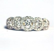 5 Stone Halo Setting, with a touch of vintage, 18YWG #DiamondsExclusive