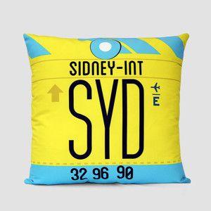 SYD - シドニー国際空港の空港コードのクッションカバー airportag