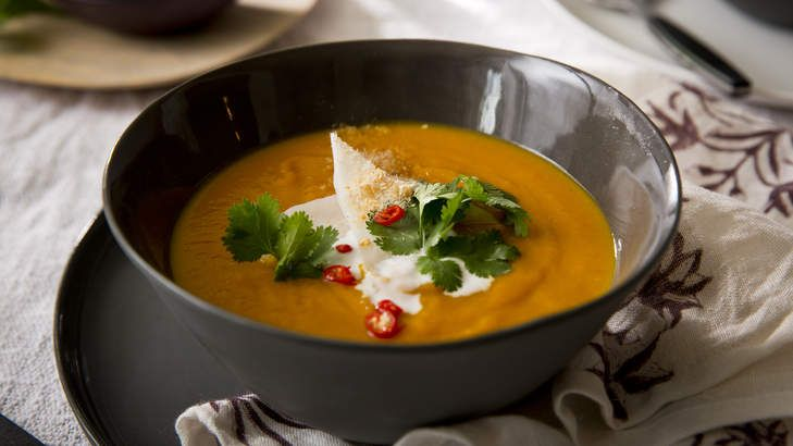 Roast pumpkin soup with Thai flavours and young coconut.