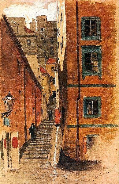 Maksymilian Gierymski (1846–1874)  TitleStone Stairs Street in Warsaw. Date1870/1872 Mediumgouache and watercolor on cardboard Dimension...