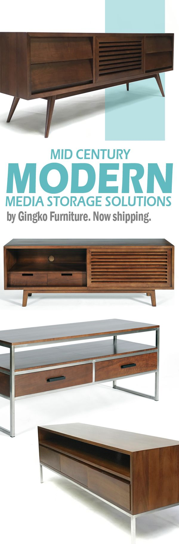Full line of Mid Century Modern TV cabinets all hand-crafted in solid Walnut. Visit Gingko's Bay Area showrooms in Mountain View or San Francisco to see our entire line of mid-century modern furniture.