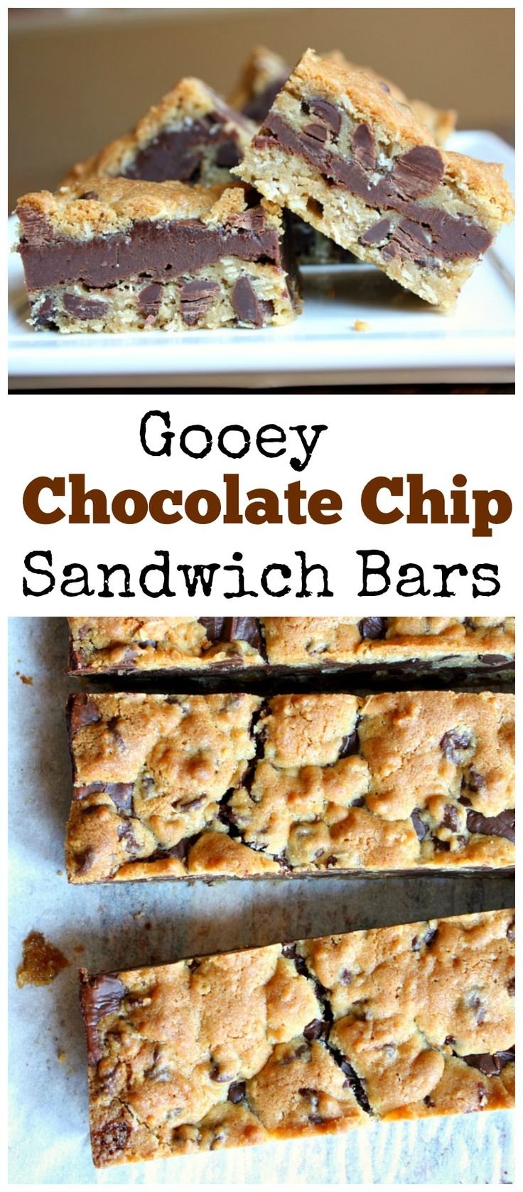 Gooey Chocolate Chip Sandwich Bars:  a family favorite dessert recipe for so many years now!