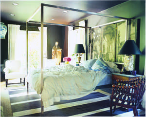 chrome canopy bed