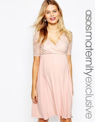 ASOS Maternity NURSING Midi Dress with Lace Wrap Front