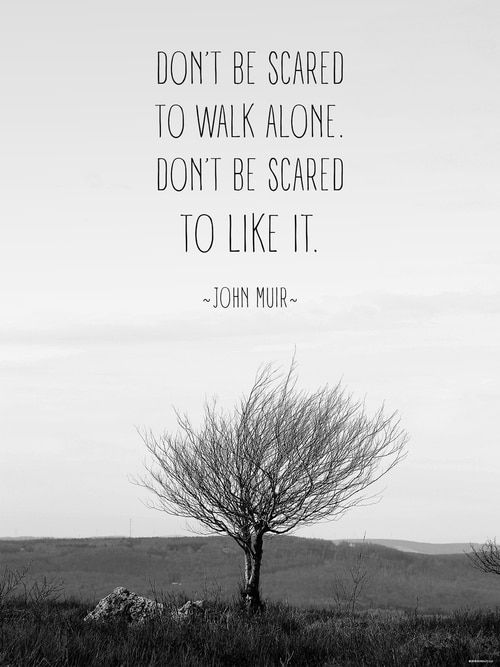 Don't Be Scared to Walk Alone. Don't Be Scared to Like It - John Muir, Father of National Parks, Inspirational Quote Poster