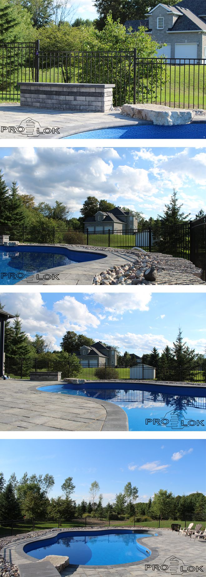 Prolok Design & Build  Beautiful backyard pool, modern -- Gorgeous backyard setting, with natural stone wall -- poolside sitting wall -- Products by Permacon
