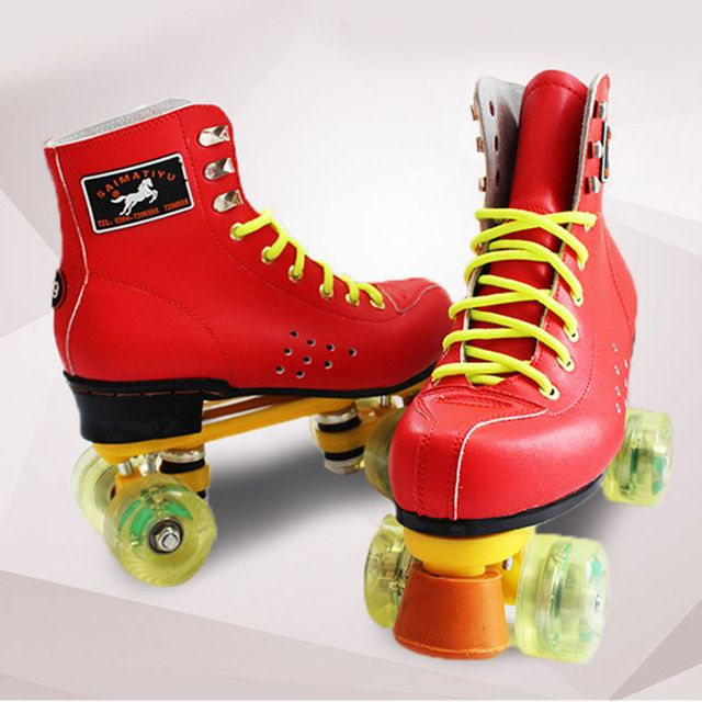 Red Women's Quad Roller Skates Boots Shoes Brown Lace-up 4 Wheels Double Line Skating Shoes for Outdoor Indoor