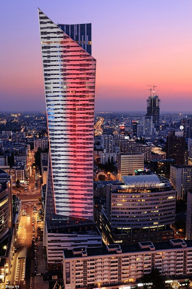 The distinctive development has 52 floors and towers over the city of Warsaw....