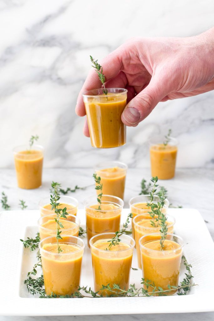 Butternut squash soup shooters are perfect for a cocktail party or as an amuse-bouche before an elegant dinner.