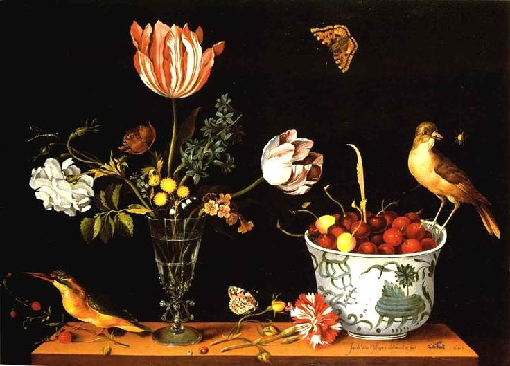 Jacob van Ostayen (active ca. 1640) — Still Life with Flowers, Birds and Cherries, 1643  (800x576)