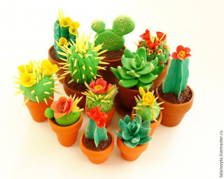 Лепим миниатюрные кактусы из полимерной глины - Ярмарка Мастеров - ручная работа, handmade