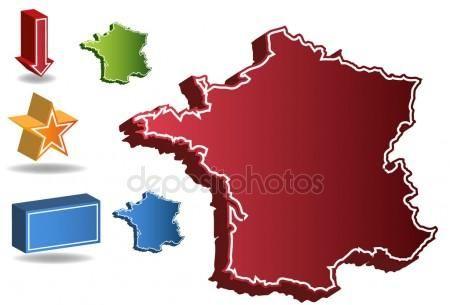Mapa 3D del país Francia Ilustración De Stock