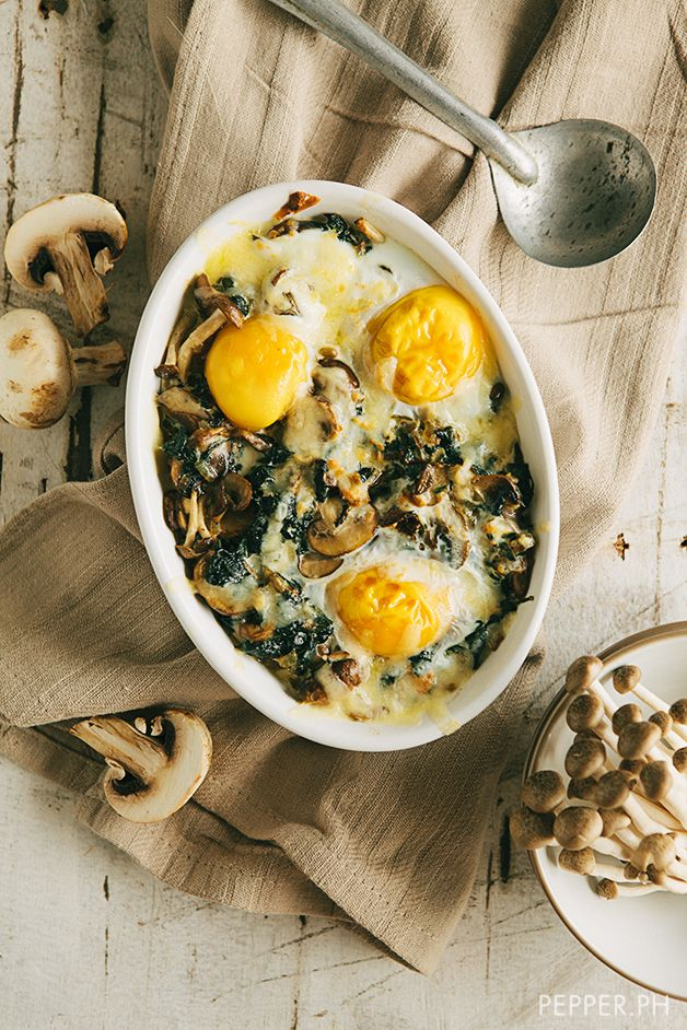 Spinach Mushroom Bake by pepper.ph #Eggs #Spinach