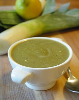 http://healthysoupsrecipes.blogspot.com/2013/06/healthy-spring-soup-lemon-and-leek.html