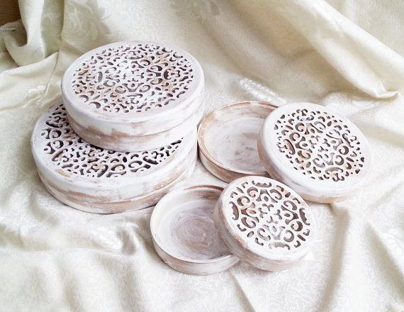 Set of 4 wooden boxes gift idea openwork by MKedraHandmade on Etsy