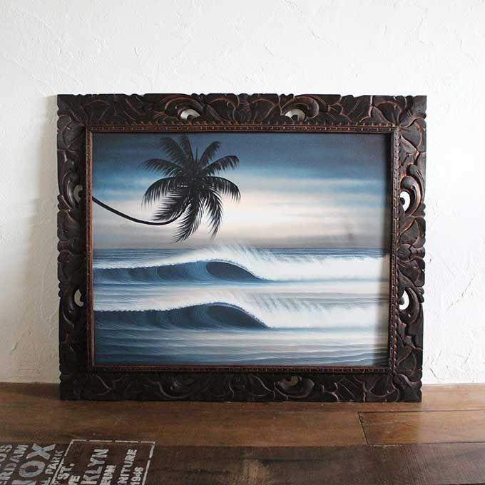 バリ島 海の絵 海 波 サーフィン ビーチ W99×H79 絵画 インテリア バリアート