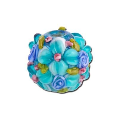 15mm Aqua Allover Flowers Round Glass Beads