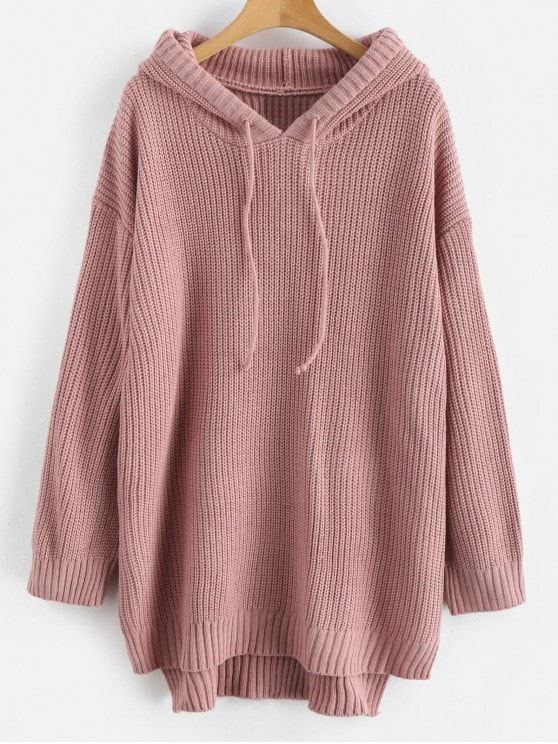 High Low Hem Hooded Knitted Dress