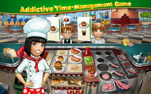 Cooking Fever Cook delicious meals and desserts from all over the world in this FREE addictive time-management game! With a choice of 15 unique locations, from Desserts and Fast Food to Oyster Bar and Oriental Restaurant, you will be able to practice your skills in a variety of settings and cooking techniques.  https://play.google.com/store/apps/details?id=com.nordcurrent.canteenhd