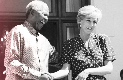 South African President Nelson Mandela with Diana, Princess of Wales, during her visit to Cape Town, South Africa, March 17, 1997.