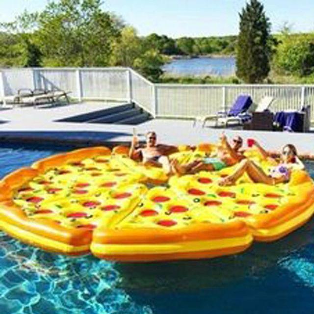 8 unids/lote 72 pulgadas gigante toda Pizza juguete de la piscina inflable flotante Pizzas flotador de la natación de la piscina anillo de la nadada del agua Fun Pool juguetes