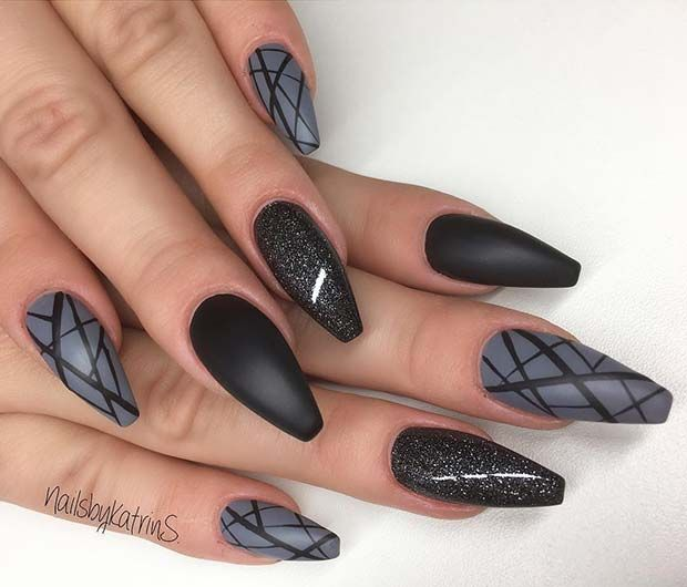 21 Edgy Matte Black Nails to Inspire You