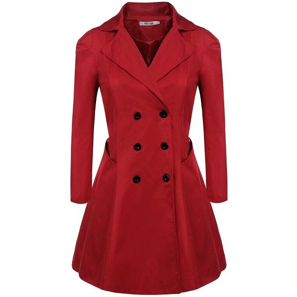 Meaneor Women's Plus Size Long Sleeve Lapel Collar Double-Breasted... ($40) ❤ liked on Polyvore featuring outerwear, coats, lapel coat, trench coats, red trench coat, womens plus coats and plus size red coat