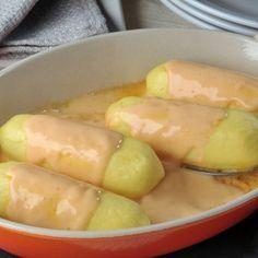 Quenelles sauce aurore (faites le 13.09.16 avc quenelles cèpes et pulpe tomates concassées à l'ail). Très bon