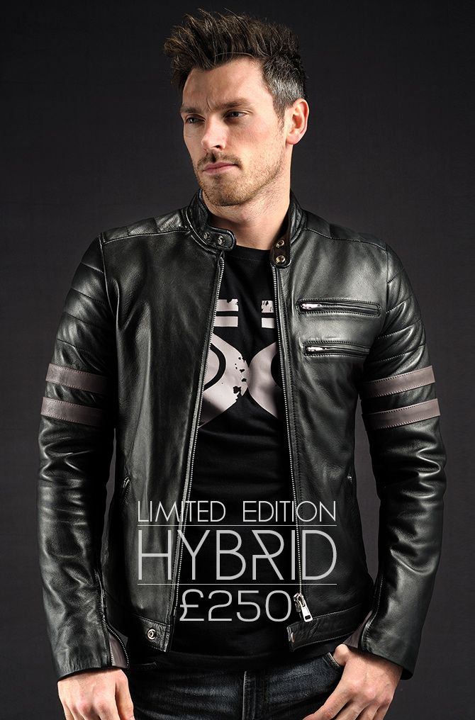 Hybrid leather jacket - Limited Edition - Black Leather Jacket with Grey details