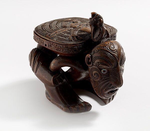 Maori Box supported by crouching figure - c.1800-50, New Zealand
