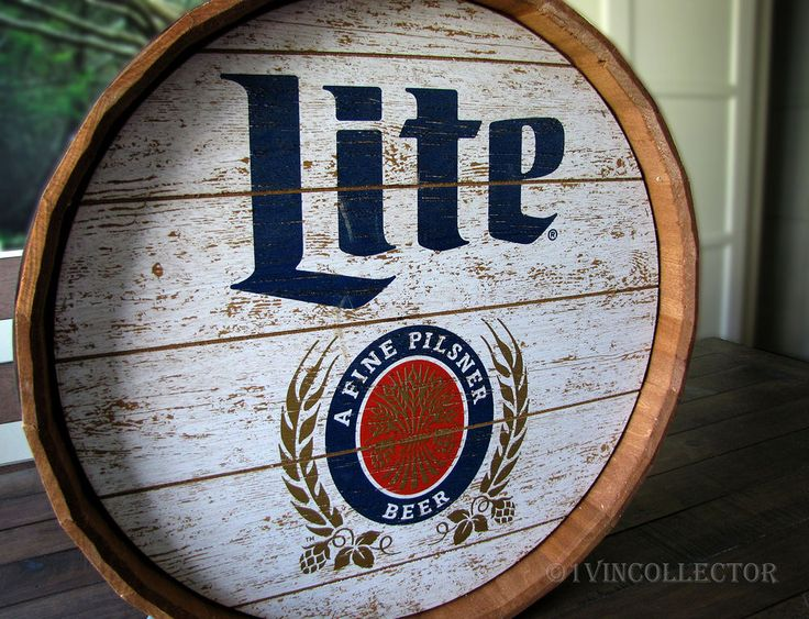 Miller Lite Pilsner BEER BARREL PUB SIGN wood bar wall mount hang