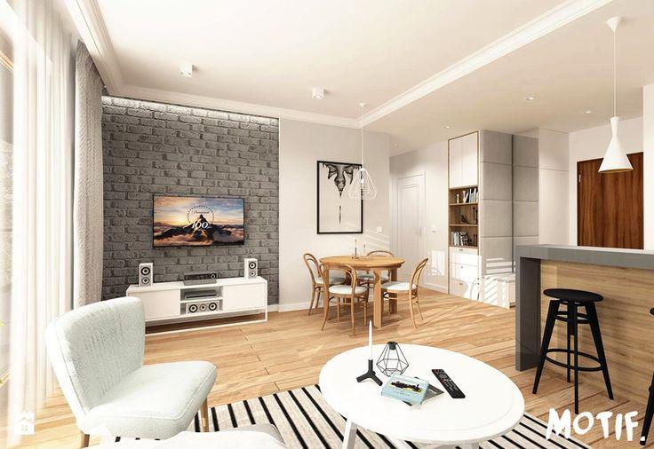 Tamka 29- I propozycja - Mały salon z barkiem z kuchnią z jadalnią, styl skandynawski - zdjęcie od MOTIF