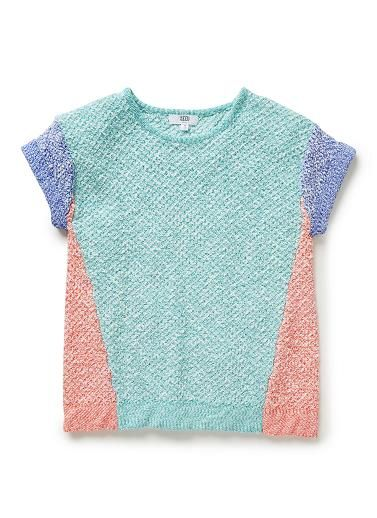 Cotton/Nylon blend Knit.  Textured knit sweater, with short, rolled sleeves. Features colour-blocked panels. Relaxed silhouette. Available in Colour shown.