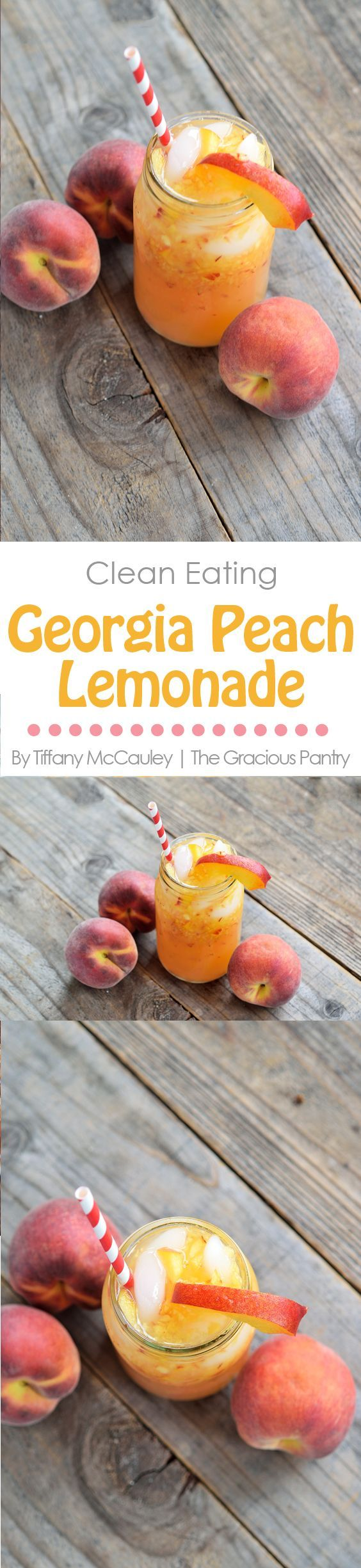 This Clean Eating Georgia Peach Lemonade Recipe is the perfect answer to a hot summer day. Sit on your porch and sip while the kids play. Perfection. ~ https://www.thegraciouspantry.com