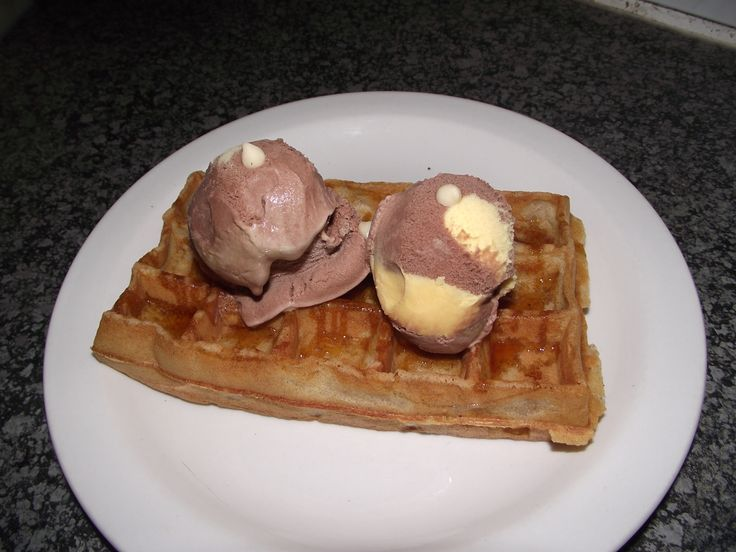 Belgian Waffles with Syrup and Choc/Banana  Ice Cream