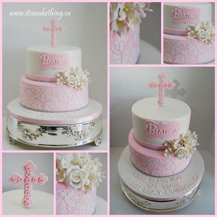 First Communion Cake - Damask Beauty
