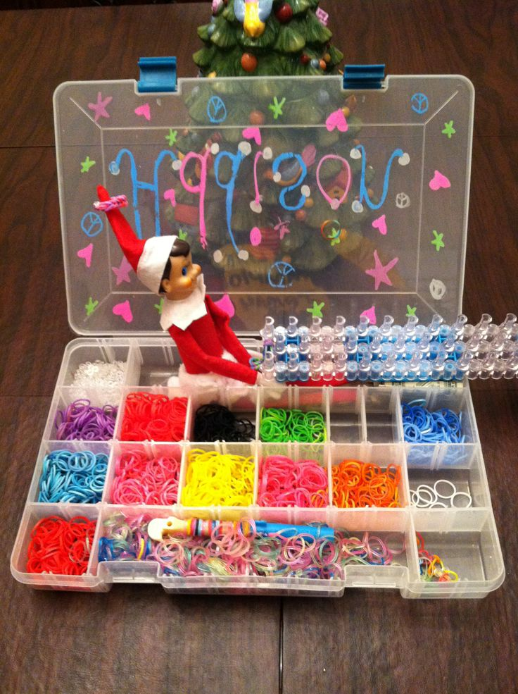 Elf on the Shelf ideas! rainbow looming elf. Then we had our daughter teach our elf how to loom. She came back the next day with bracelets for her