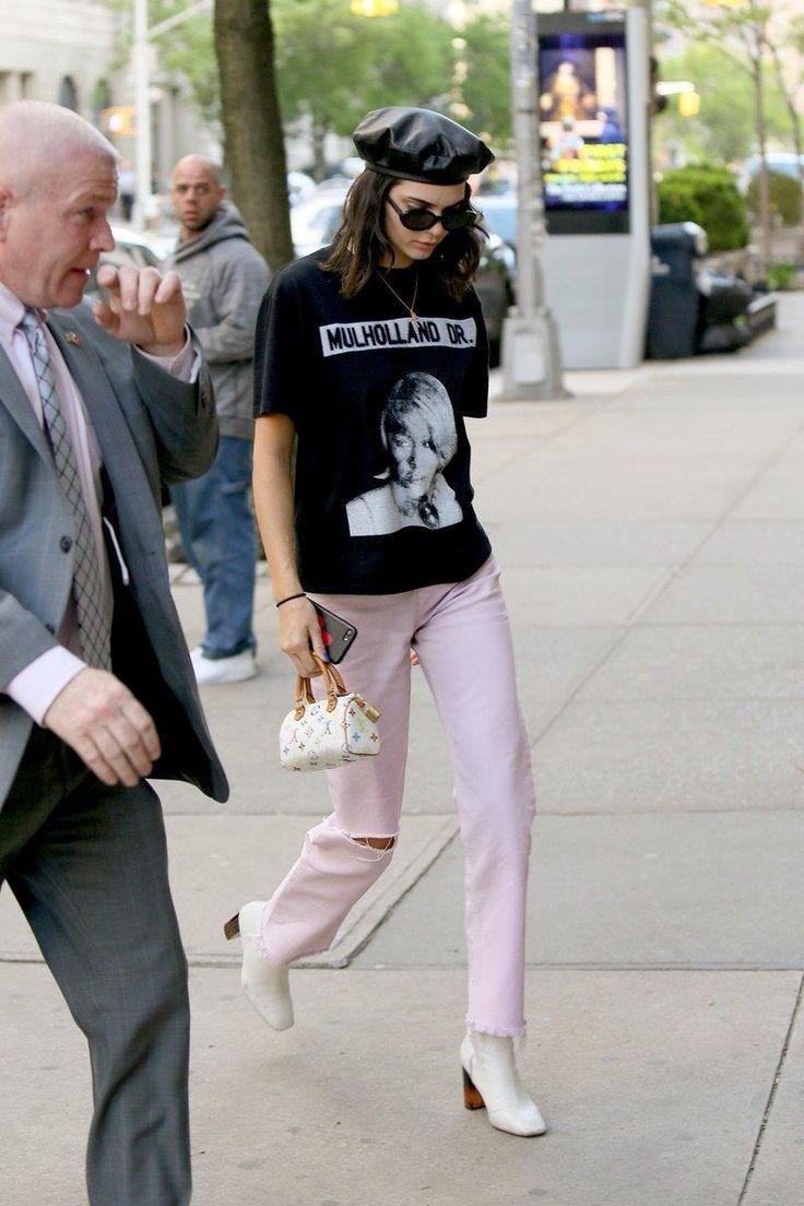 Kendall Jenner wearing Louis Vuitton Murakami Mini Speedy Bag, Kurt Geiger Strut Boots and Roberi & Fraud Betty Sunglasses