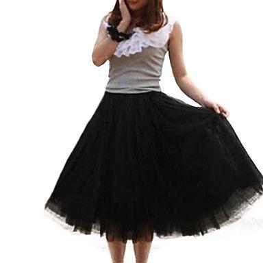Women's+Pink/White/Black/Green/Beige+Skirt,Vintage/Cute+Midi+Layered+–+MXN+$+242.91