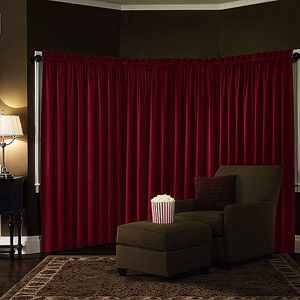 Velvet Blackout Energy Efficient Curtain Panel - Multi-purpose acetate blackout lining offers many advantages - blocks outdoor light, reduces noise for better sleep and offers a more authentic home theater experience. This home theater curtain reduces heat and light in warm weather and insulates to keep out cold during winter months. #WalmartGreen
