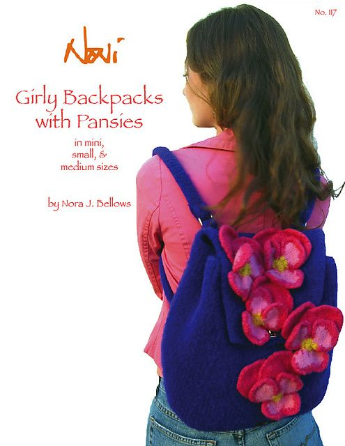#117, Girly Backpacks with Pansies by Nora J. Bellows. Felted. So sweet!
