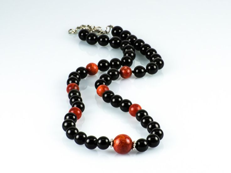 Natural Black Obsidian & Sweet Red Sponge Coral Gemstone Knotted Necklace by TheBeadedGardencom on Etsy