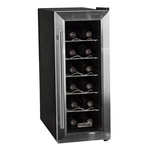 Koldfront TWR121 10 Inch Wide 12 Bottle Wine Cooler with Slim Fit and Thermoelectric Cooling, Black