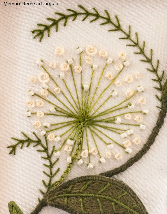 Flower Detail from Top Panel from Jane Nicholas Mirror 1 stitched by Lorna Loveland - Embroiderers' Guild ACT