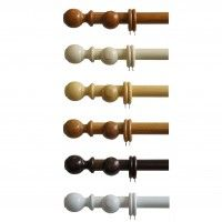 Wooden Curtain Poles Timberline 35mm Complete Wooden Curtain Pole Set in Antique Pine, Cream, Natural, Oak, Walnut and White