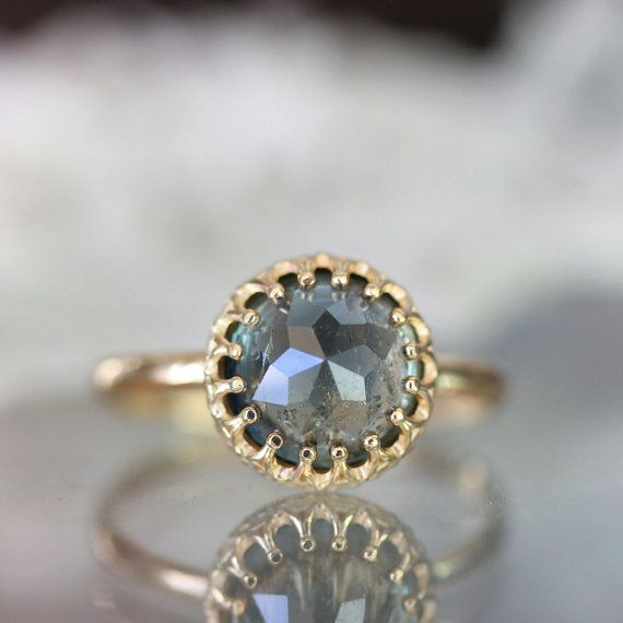 Rose Cut Blue  Green Sapphire In 14K Yellow Gold by louisagallery, $540.00