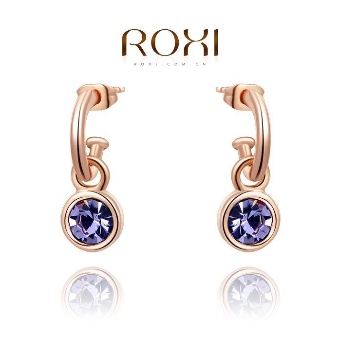 Roxi  fashion oorbellen steeg verguld paars oorbellen Oostenrijkse kristallen 100% handgemaakte mode-sieraad